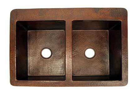 """Picture of 42"""" Copper Farmhouse Sink - 50/50 by SoLuna"""