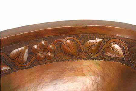"""Picture of 19"""" Oval Copper Bathroom Sink - Floral by SoLuna"""