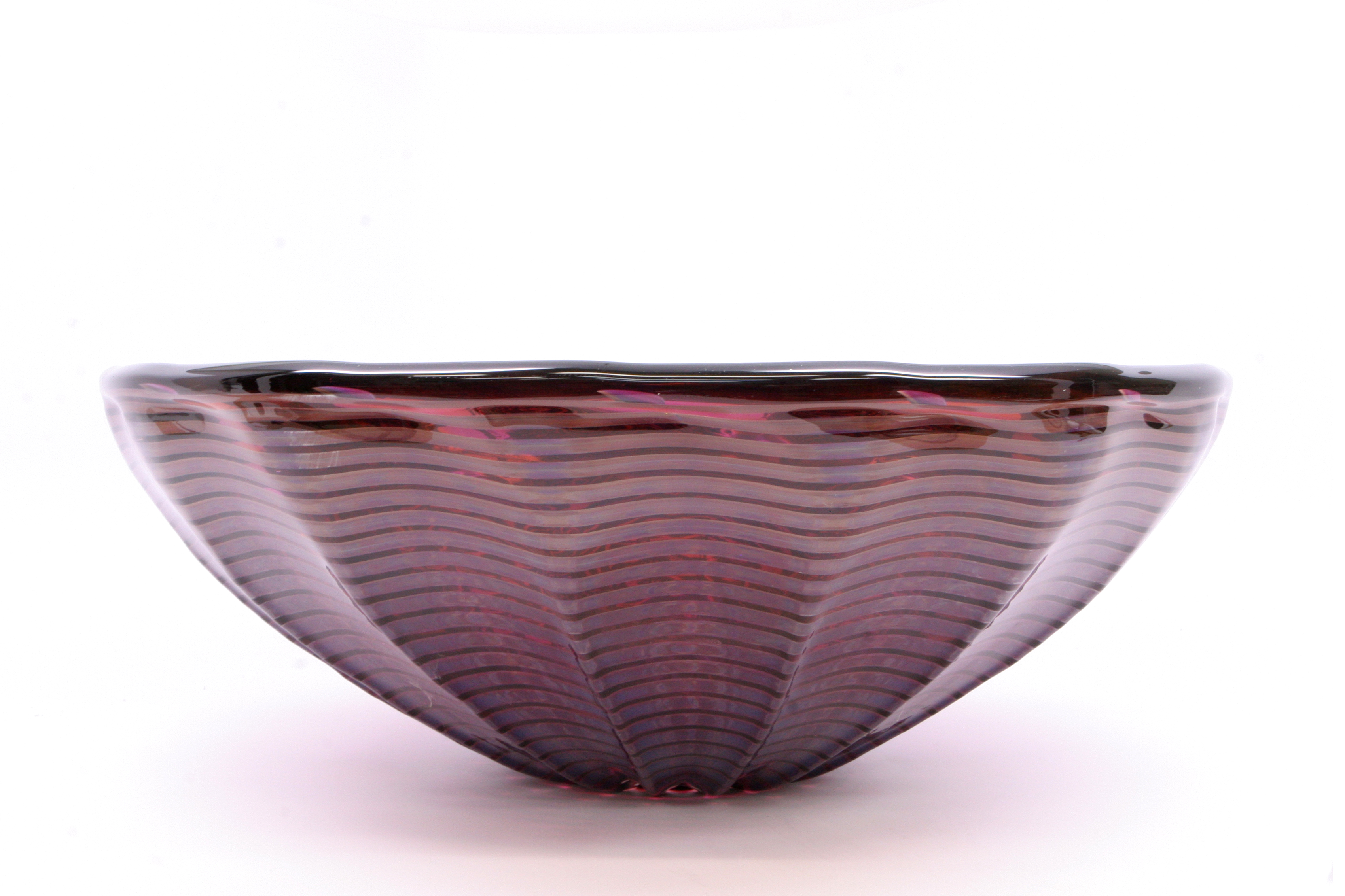 Picture of Blown Glass Sink - Burgundy Waves
