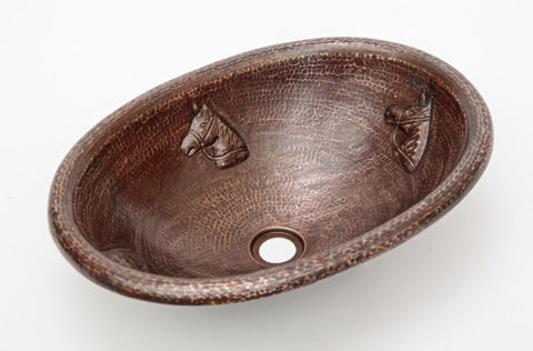 "19"" Oval Copper Bathroom Sink - Horse by SoLuna"