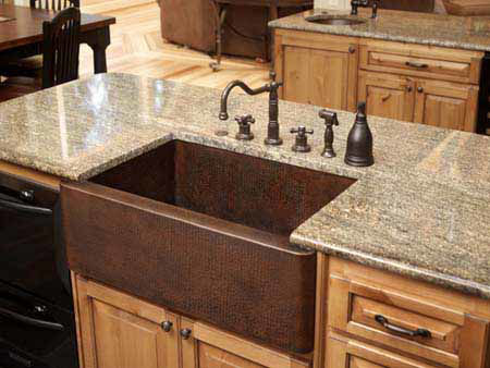 "Picture of 30"" Single Well Copper Farmhouse Sink by SoLuna"