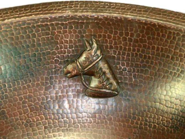 "Picture of 19"" Oval Copper Bathroom Sink - Horse by SoLuna"