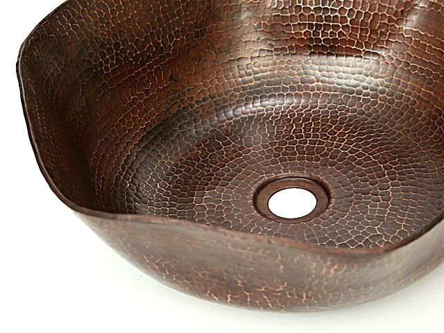 """Picture of 16"""" Rippled Copper Vessel Sink by SoLuna"""