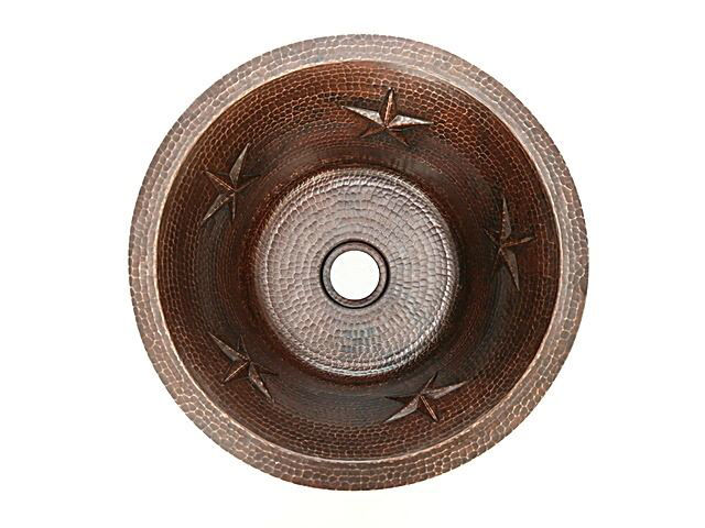 "Picture of 16"" Round Copper Bar Sink - Stars by SoLuna"