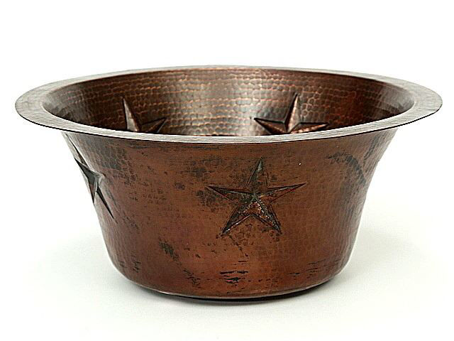 """Picture of 16"""" Round Copper Bar Sink - Stars by SoLuna"""