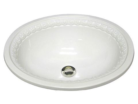 Marzi Oval Ceramic Sink with Romanesque Border
