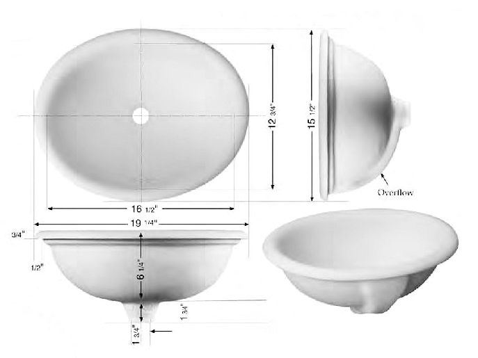 Picture of Marzi Self-Rimming Oval Sink with Rounded Rim