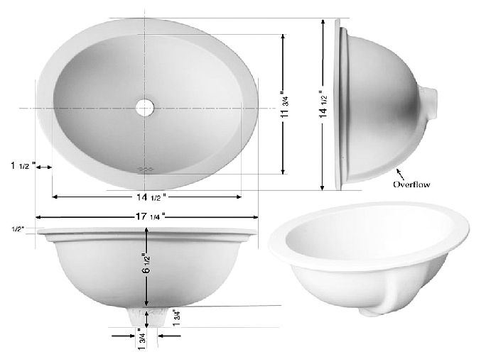 "Picture of Marzi 17"" Self-Rimming Oval Ceramic Sink with Flat Rim"