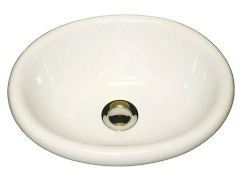 Marzi Small Oval Ceramic Bath Sink with Rounded Rim