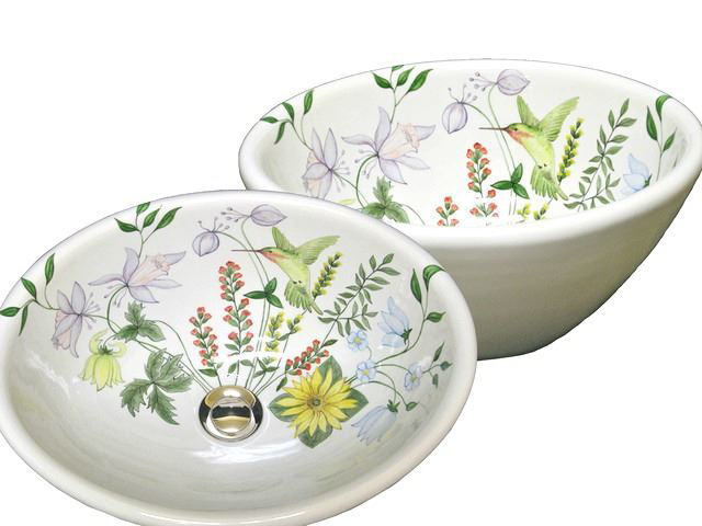Picture of Hand Painted Sink - Hummingbird in Flowers - Oval