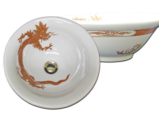 Picture of Hand Painted Sink -  Ming Dragon