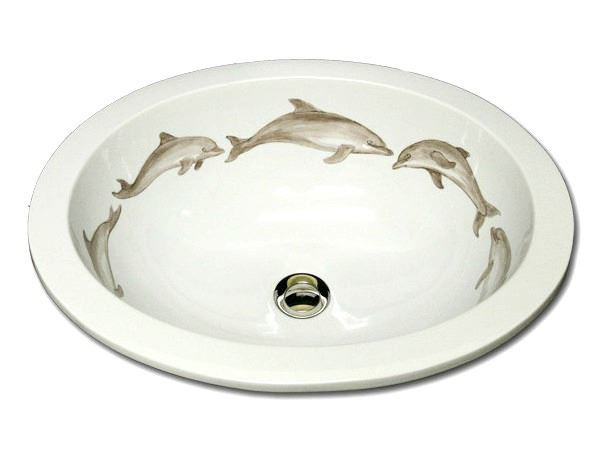 Picture of Hand Painted Sink | Dolphins
