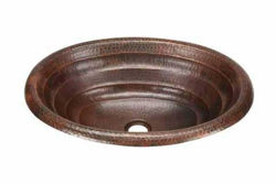 "19"" Oval Copper Bathroom Sink - Rings by SoLuna"