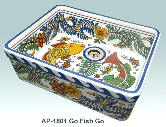 Picture of Go Fish Go Design on Single Bowl Fireclay Kitchen Sink