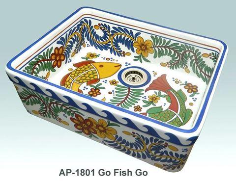 Go Fish Go Design on Single Bowl Fireclay Kitchen Sink