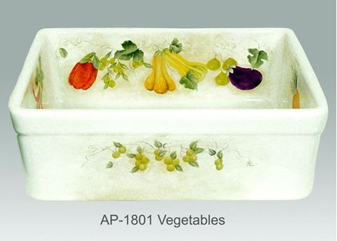 Vegetables Design on Single Bowl Fireclay Kitchen Sink