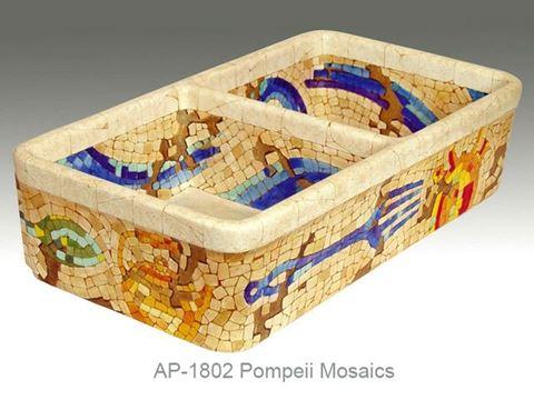 Pompeii Mosaics Design on Double Well Fireclay Farmhouse Sink
