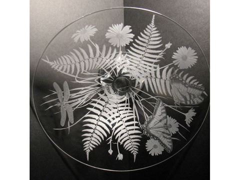 Ferns and Daisies Etched Glass Vessel Sink