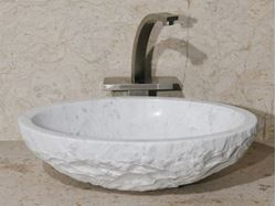 "18"" Oval Stone Vessel Sink with Rough Exterior"