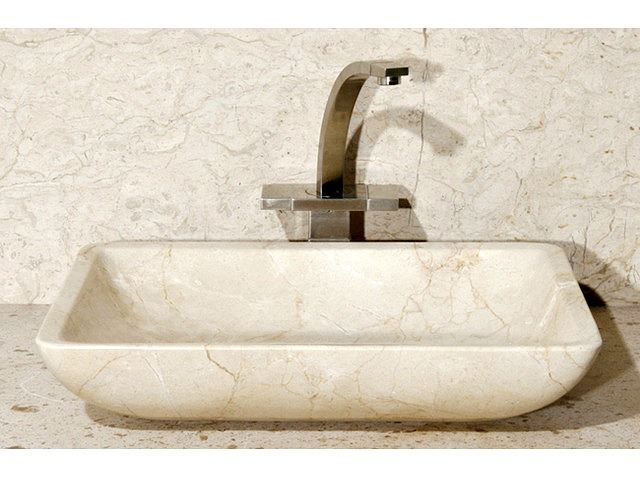 "Picture of 20"" Rectangular Stone Vessel Sink with Rounded Walls"