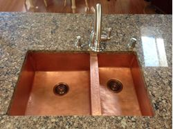 "36"" Double Well Copper Kitchen Sink - 60/40 by SoLuna"
