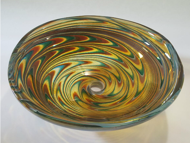 "Picture of 20"" Large Light Amber Vortex Vessel Sink"