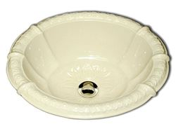 "Picture of Marzi 17"" Fluted Oval Sink with Romanesque Relief Rim"