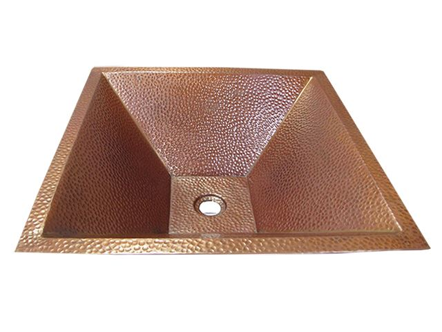 """Picture of SALE 20"""" Pyramidal Tapered Copper Vessel Sink in Cafe Natural"""