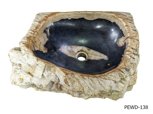 "Picture of Medium Black and Beige Petrified Wood Sink 18""-21"""