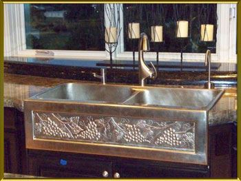 "Picture of 36"" Chameleon Double Well Bronze Farmhouse Sink"
