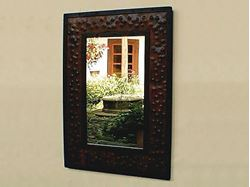 Large Rectangular Hammered Metal Mirror
