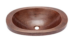 "Picture of 21"" Oval Copper Bathroom Sink w/Raised Rim by SoLuna"