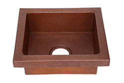 "17"" Rimmed Rectangle Copper Prep Sink"