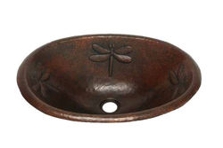 "19"" Oval Copper Bathroom Sink - Dragonfly by SoLuna"