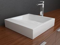Picture of Solid Surface Contemporary White Sloping Bath Sink I