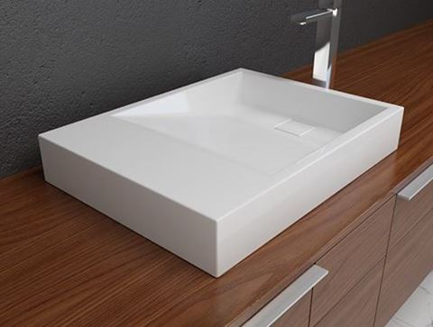 Solid Surface Contemporary White Sloping Bath Sink II