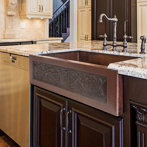 Picture of Copper Farmhouse Sink - Forest Spirits by SoLuna