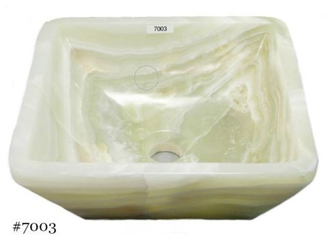 SoLuna White Onyx Square Vessel Sink
