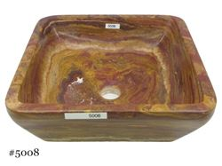 Picture of SoLuna Square Vessel Sink in Rare Red Onyx