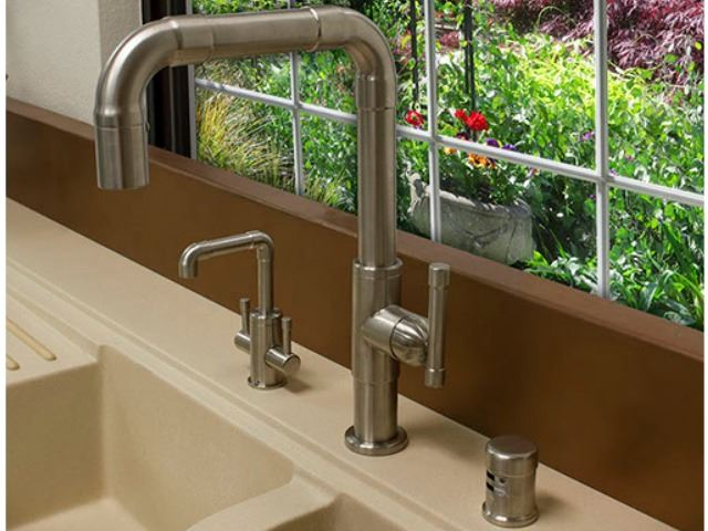 Picture of Sonoma Forge | Kitchen Faucet | Brut Elbow Spout | Deck Mount | Pull-out