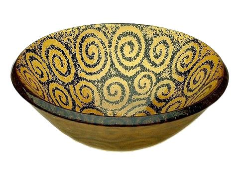 Picture of Amber Spiral Glass Vessel Sink