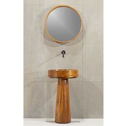 Round Teak Wood Bath Sink by Solli Concepts - T3 with Optional Pedestal Option