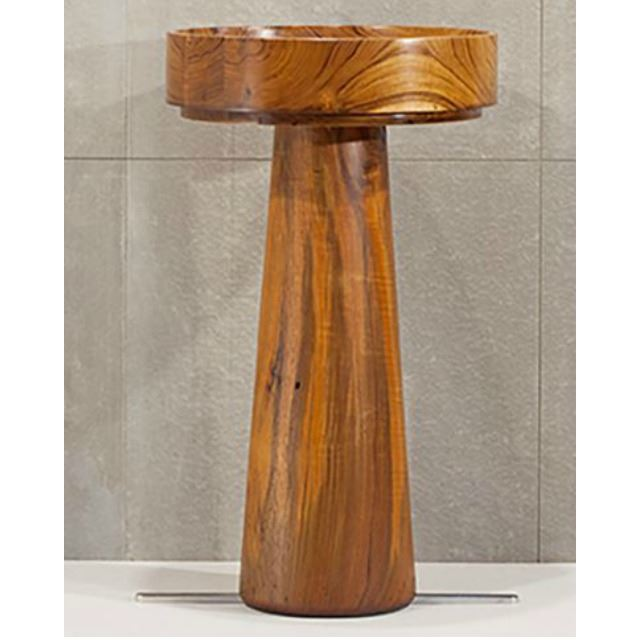 Picture of Round Teak Wood Bath Sink by Solli Concepts - T3 with Optional Pedestal Option