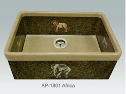 Picture of Africa Design on Single Bowl Fireclay Kitchen Sink