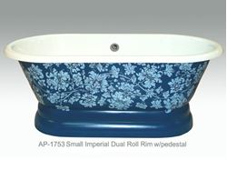 Picture of Fiore Design on Small Imperial Dual Roll Rim Bath Tub