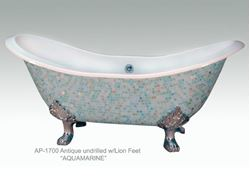 Picture of Aquamarine Design on Antique Ceramic Bath Tub
