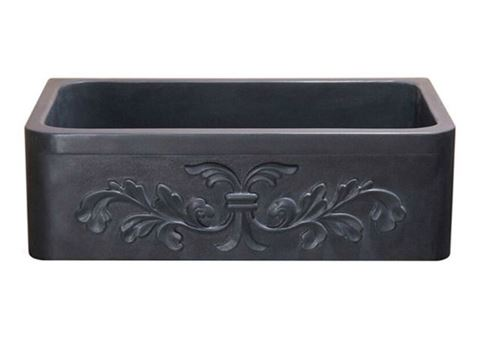 "33"" Black Lava Single Well Carved Farmhouse Sink"