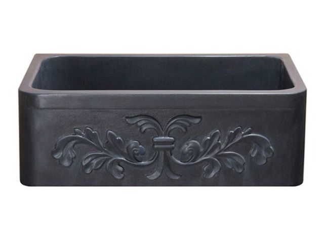 "Picture of 30"" Black Lava Farmhouse Sink with Carved Front"