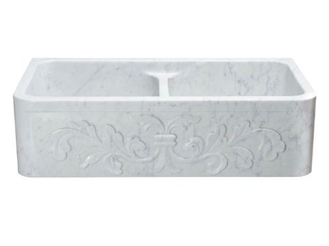 "36"" White Marble Double-Well Farmhouse Sink with Carved Front"