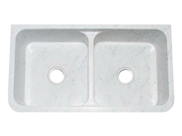 "Picture of 36"" White Marble Double-Well Farmhouse Sink with Carved Front"